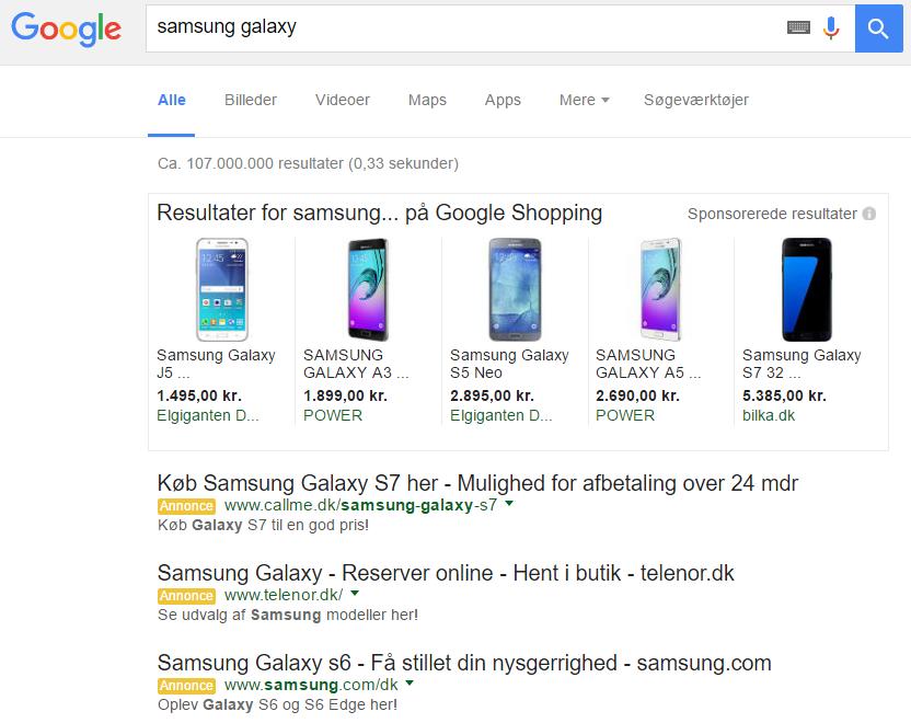 Sorte links testes i Google søgeresultater